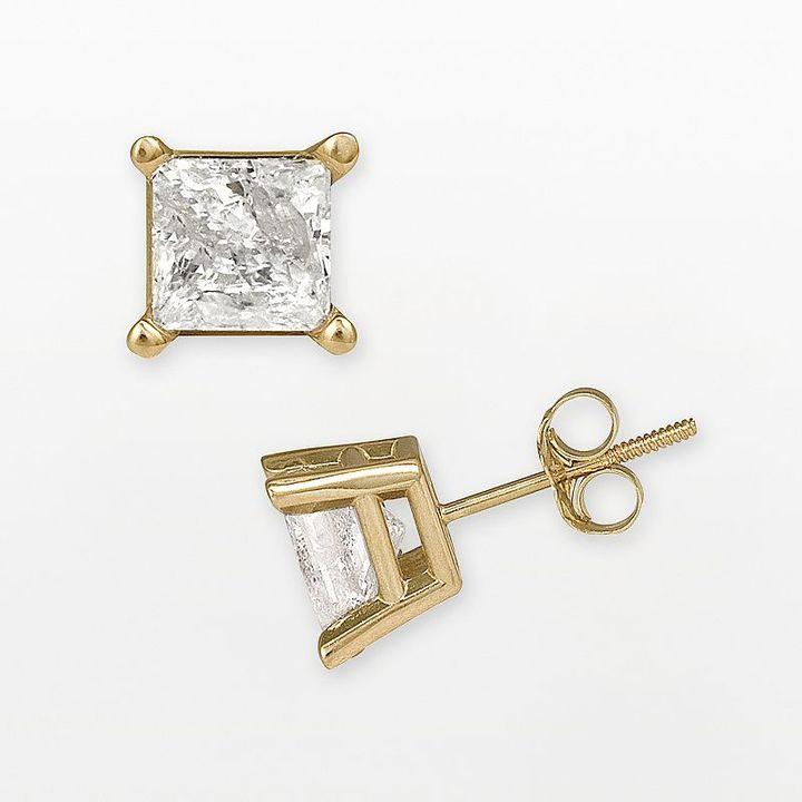 14k Gold 1 1/2-Ct. T.w. Princess-Cut Certified Diamond Stud Earrings