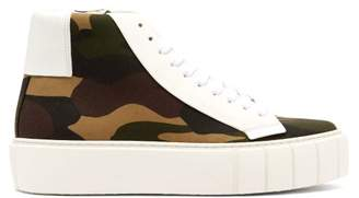 Primury - Dyo Camouflage Print High Top Canvas Trainers - Womens - Khaki Multi