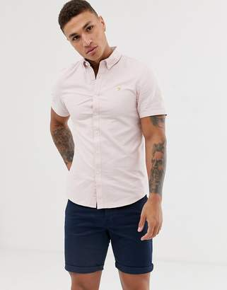 Farah Brewer slim fit short sleeve oxford shirt in pink