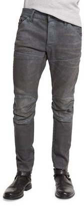 G-Star 5620 3D Slim-Fit Studded Moto Jeans, Dark Aged Cobbler $290 thestylecure.com