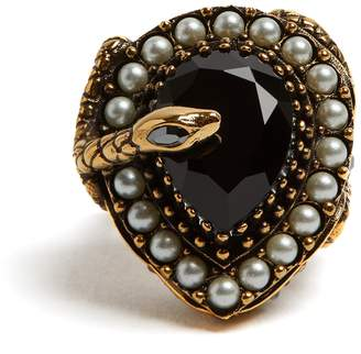 Alexander McQueen Snake stone and pearl-embellished ring