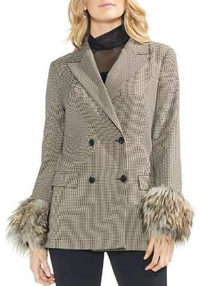 Vince Camuto Double-Breasted Faux-Fur Cuff Blazer