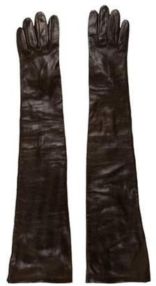 Etro Leather Long Gloves brown Leather Long Gloves