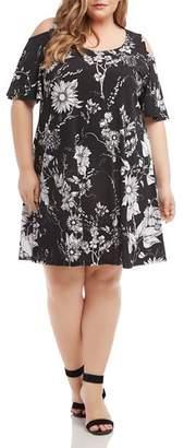 Karen Kane Plus Floral-Print Cold-Shoulder Dress