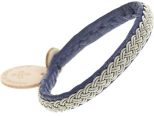 Maria Rudman Rambali Pewter Blue Leather Bracelet