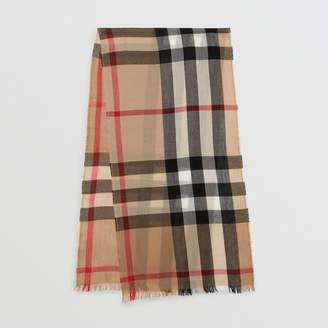 Burberry Lightweight Check Wool Cashmere Scarf, Brown