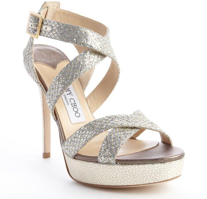Jimmy Choo champagne glitter fabric 'Vamp' crisscross platform sandals