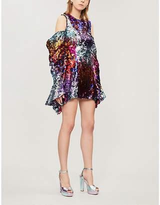 HALPERN Ruffled cold-shoulder sequinned mini dress