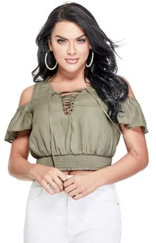 GUESS Women's Eloise Cold-Shoulder Top