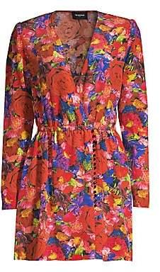 The Kooples Women's Floral Silk Long-Sleeve Wrap Dress