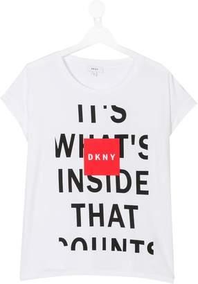 DKNY TEEN slogan printed T-shirt
