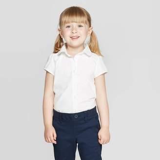 Cat & Jack Toddler Girls' Short Sleeve Uniform Woven Blouse True White
