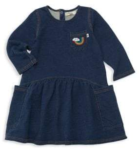Little Girl's Donna Iron-On Patch Cotton Denim Terry Dress