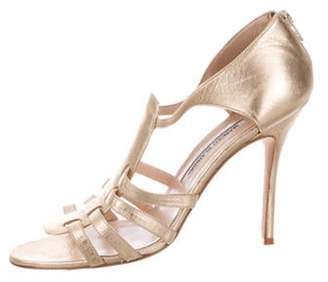 Manolo Blahnik Metallic Leather Sandals Gold Metallic Leather Sandals