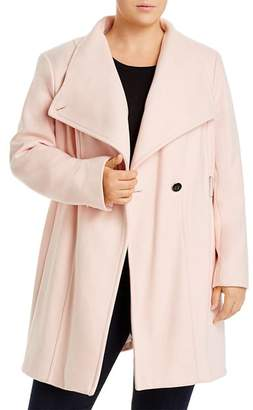 Calvin Klein Plus Double-Breasted Belted Coat