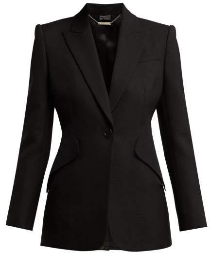 Single Breasted Crepe Blazer - Womens - Black