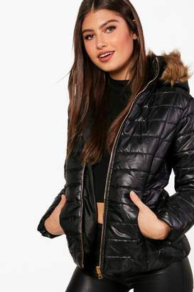 boohoo Crop Faux Fur Hood Padded Jacket