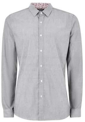 Topman Mens Grey Gray Print Long Sleeve Shirt