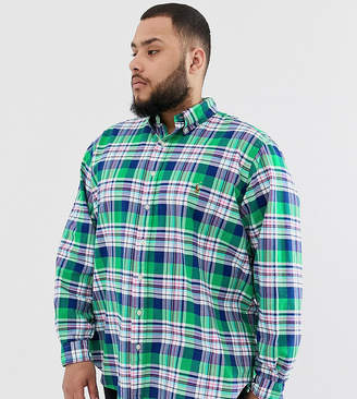 Polo Ralph Lauren Big & Tall player logo check oxford button down shirt in green