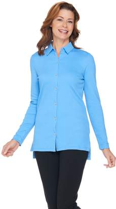 Halston H By H by Long Sleeve Ribbed Knit Button Front Top