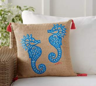 Pottery Barn Lilly Pulitzer Hold Your Horses Embroidered Indoor/Outdoor Pillow
