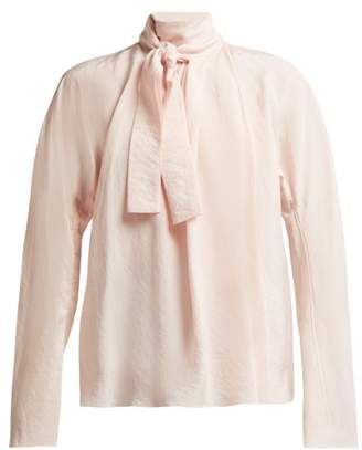 Lemaire Silk Neck Tie Blouse - Womens - Light Pink