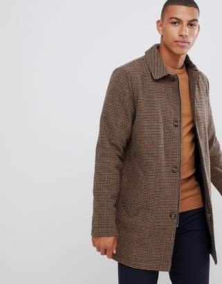 Bellfield wool mix longline button houndstooth overcoat in brown