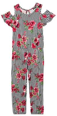 XOXO Stripe & Flower Cold Shoulder Jumpsuit (Big Girls)
