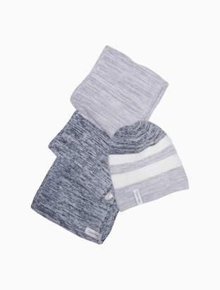 Calvin Klein colorblock ribbed hat + logo scarf set