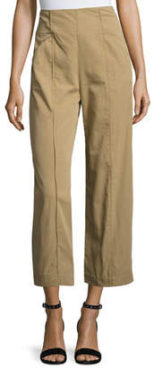 A.L.C. Marley Cropped High-Rise Wide-Leg Chino Pants, Brown $365 thestylecure.com