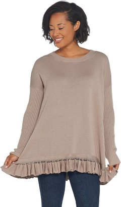 Lisa Rinna Collection Round Neck Ruffle Flounce Sweater