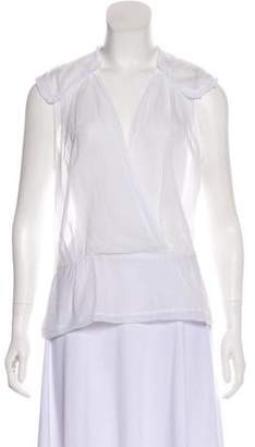 By Malene Birger Lace-Accented Cap Sleeve Top