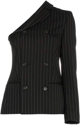 Moschino one sleeve double breasted striped virgin wool blend blazer
