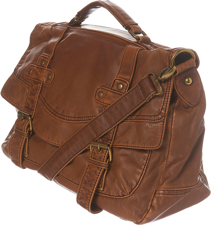 Washed Two Buckle Satchel