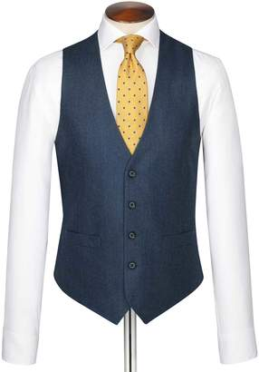 Charles Tyrwhitt Blue Adjustable Fit Twill Business Suit Wool Vest Size w36