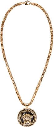 Versace Black & Gold Medusa Medalion Necklace $825 thestylecure.com