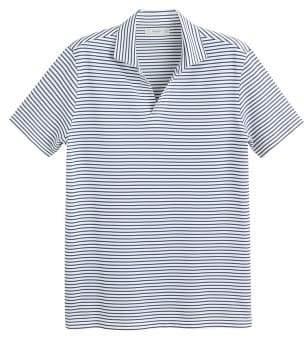 MANGO MAN Striped open neck polo shirt