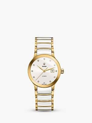 Rado R30080752 Women's Centrix Diamond Date Bi-Material Bracelet Strap Watch, White/Gold