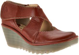 Fly London Leather Adj. Criss Cross Strap Wedges - Yogo