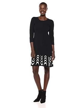 Nine West Women's 3/4 Sleeve Jacquard Fit & Flare Dress