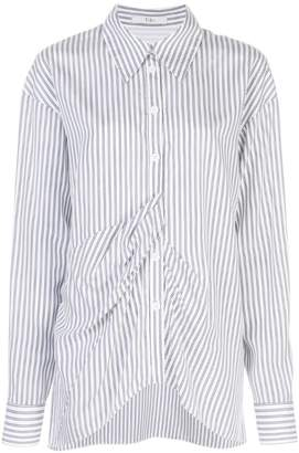 Tibi vertical stripe draped shirt