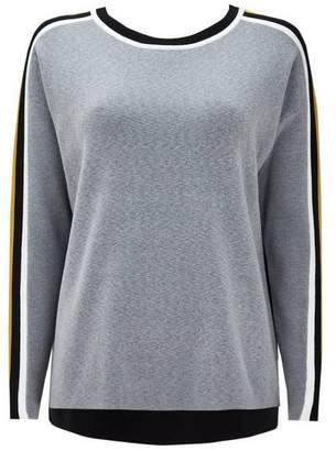 Wallis Grey Stripe Sleeve Detail Jumper