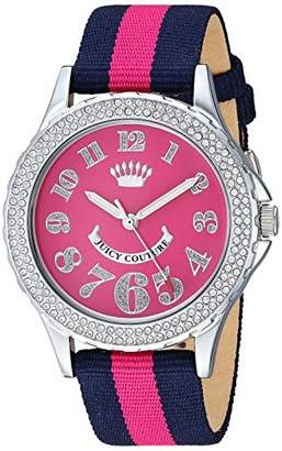 Juicy Couture Black Label Women's Swarovski Crystal Accented Navy Blue and Hot Pink Nylon Strap Watch