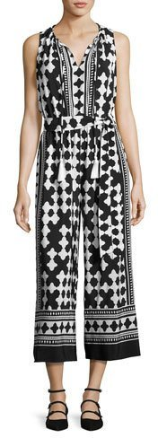 Kate Spade New York Lantern Sleeveless Silk Quatrefoil Jumpsuit, Black/White