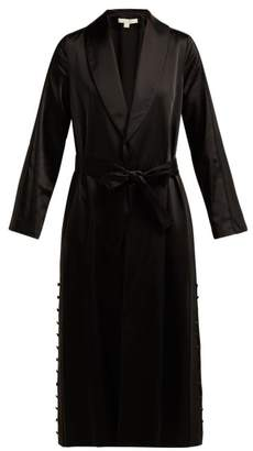 Jonathan Simkhai Side Striped Belted Satin Robe - Womens - Black