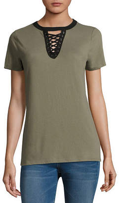 Arizona Short Sleeve Lace Up T-Shirt- Juniors