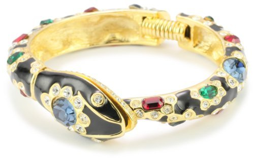 Kenneth Jay Lane Black Enamel And Multi-Gem-Color Snake Bracelet