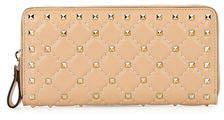 Valentino Rockstud Quilted Zip-Around Wallet