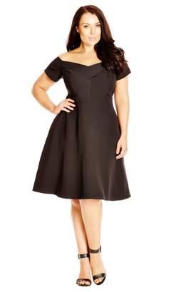 City Chic Citychic Black Off Shoulder Fit & Flare Dancer Dress