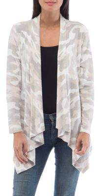 Bobeau B Collection By Amie Camo-Printed Open Cardigan